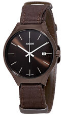 Rado True Brown Fabric Strap Brown Dial Date Ceramic Quartz Mens Watch R27234306