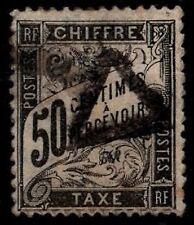 Taxe DUVAL Noir 50c, Oblitéré = Cote 240 € / Lot Timbre France Taxe n°20