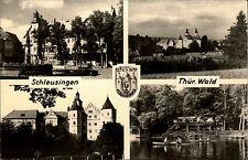 Schleusingen Thüringer Wald DDR s/w Mehrbild AK ~1950/60 Bertholdsburg See u.a.