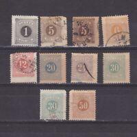 SWEDEN 1877, Sc# J12-J21, CV $48, Postage Due, part set, MH/Used