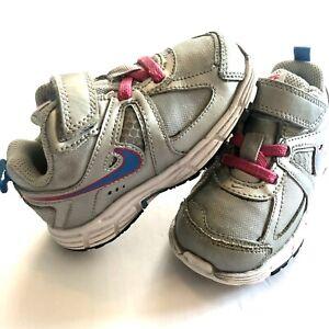 Nike Dart 9 Toddler Girl Silver Grey Pink Blue Sneakers Hook Loop Closure Sz 7C