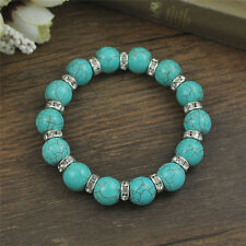 Vintage Yoga Mala Silver Jewelry Beads Bangle Turquoise Chain Bracelets Gift BDA