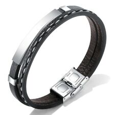 "Stainless Steel Men's 8"" Braided String Black Leather Bracelet - Free Engraving"