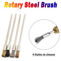 3mm Rotary Steel Wire Wheel Brush Cup Tool Shank for Dremel Drill Rust Weld New