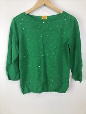 Ruby Rd Women's Size S Kelly Green Sweater Gold Embellishments 3/4 Sleeve