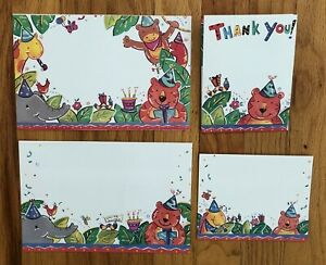 Kids Party Invitations/Thank You Notes with Envelopes 16 each Animal Themed NEW