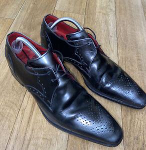 Jeffery West Men's Designer Black Leather Shoes Size UK 8