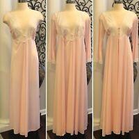 Vintage LORRAINE Size M Pink Nylon Lace Peignoir Long Nightgown & Robe Set USA