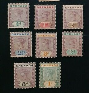 GRENADA 1895 0.5d to 1s SG 48 - 55 Sc 39 - 46 MLH/MH set 8 some gum toning