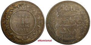 Tunisia Muhammad V Silver AH1335 (1916) A 1 Franc Toned KM# 238 (19 002)