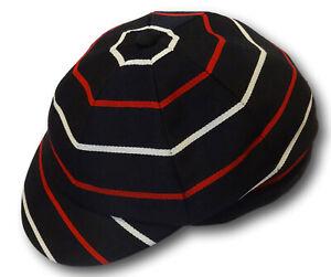 Black Red & White Venetian Stripe Wool Worsted School Uniform / Rowing Cap