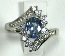 Blue Sapphire Ring 14K white gold Halo VS Natural Ceylon Rare Heirloom $4,456