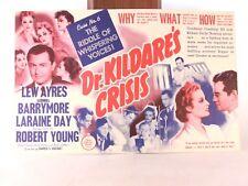 "Vintage 1940 ""Dr. Kildare's Crisis"" Movie Promotion Poster (11"" x 7"")"