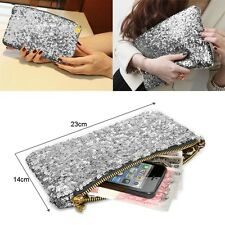 Silver Luxury Sparkly Clutch Purse Evening Bag Wedding Bridesmaid Date Handbag