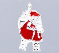 4 x Enamel Santa Silver Plated Pendant Charms Xmas Father Christmas 22mm