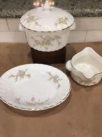 """W S GEORGE Bolero Floral Covered Casserole  Gravy Boat Oval Dish 9.5""""EUC"""
