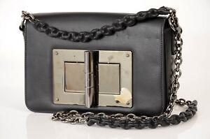 Tom Ford Natalia black leather signature logo shoulder handbag purse NEW $2250