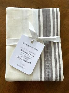 Williams Sonoma LINEN GLASS DRYING Kitchen Towels Set of 2