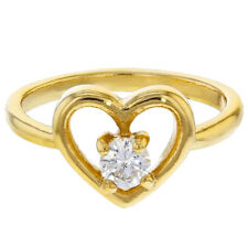 18K Gold Plated Clear Crystal Heart Love Baby Rings for Girls