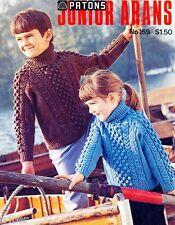 Childrens Aran Knitting PATTERNS Sweaters Dresses Jackets Cardigans Size 2-12