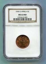 South Africa 1990 5c MS 63 RD NGC certified coin