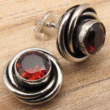 925 Silver Plated Exclusive GARNET Gemset SPIRAL KNOT ART Studs Post Earrings