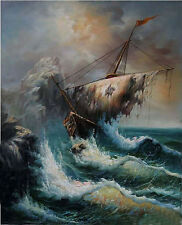 Stunning Oil painting seascape Shipwreck & broken vessel with ocean waves canvas