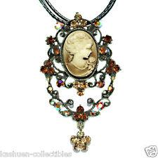 Big w Swarovski Crystal Topaz Brown CAMEO Princess filigree Queen Charm Necklace