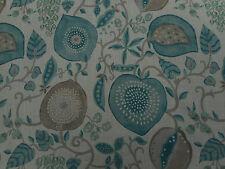 Sanderson Curtain Fabric 'Peas & Pods' Aqua/Natural 3.65 METRES - Linen Blend