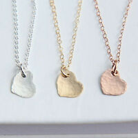 Fashion Love Necklace Hammered Heart Pendant Choker Chain Jewelry Gift