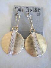 Robert Lee Morris hammered gold tone~silver tone wire drop earrings, NWT