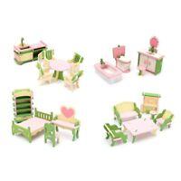 Wooden Furniture Dolls House Family Miniature 6 Room Set Dolls For Kids Children