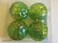 4 Green Transparent 4 In Ball Shatter Resistant Christmas Ornament Decoration