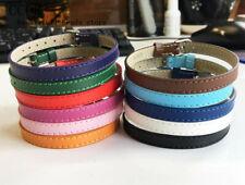 10PCS 8*230MM Genuine Leather Wristband Bracelets Fit 8mm Slide Charms