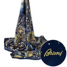$495 New BRIONI Square Navy Blue Handmade Silk Wrap Scarf Shawl Headscarf