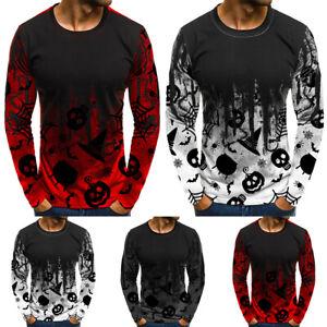 Mens Halloween Pumpkin Blouse Tops Steampunk Long Sleeve T-Shirt Party Pullover