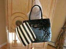 "NWT BETSEY JOHNSON  ""Bag In Bag"" Black Tote + Pouch To Go (2 Piece Set) $138"