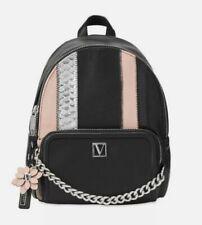 Victoria's Secret Exotic Mix Mini Backpack Black Flower Hangtag Chain ZIPPER