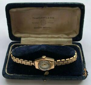 Vintage Ladies 9ct Gold Boxed Accurist Wristwatch Wrist Watch Working 1958