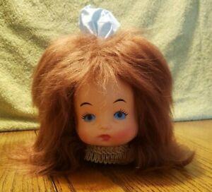 Vintage Doll Head Face Brown Hair Tissue Box Cover Dispenser with Kleenex Box