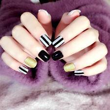 Short Nail Tips 24pcs Oval Cute Fake Nails in Acrylic Box Full Cover Glitter