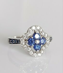Beautiful Sterling Silver & Diamonique Crystal Cocktail Engagement Ring UK K/L
