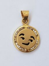 """Small Solid real 14k yellow gold emoji Smirking face pendant charm .65"""" lng"""