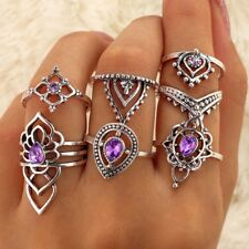 7Pcs/Set Boho Vintage Silver Amethyst Crystal Midi Above Knuckle Ring Jewelry