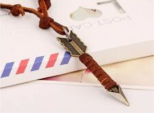 Mens Leather Necklace 100% brown genuine leather pendant retro style surfer