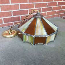 Vintage Tiffany Style Lead Hanging Ceiling Lamp Stained Glass Amber Green