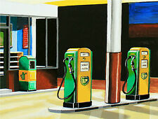 Tankwart BP Tankstelle Kunstdruck Benzin Diesel Zapfsäule Homage Edward Hopper