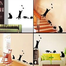 1pc autocollant Sticker mural - mignon Chat chatte noir joue le boule papillon