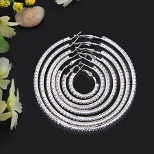 Large Round Diamante Diamonte Hoop Earrings, Big sparkly bling
