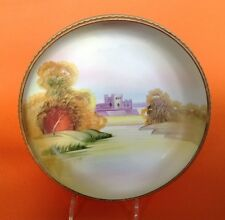 Nippon Noritake Footed Rose Bowl Hand Painted Castle And Raised Moriage Accents
